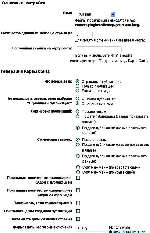 wordpress карта сайта для пользователей