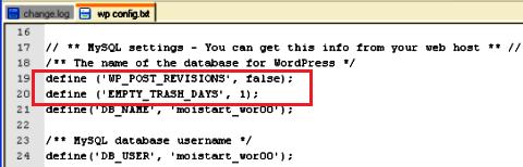 wordpress очистить базу данных