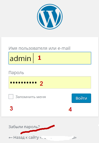 wordpress вход в админ панель, адрес страницы админки